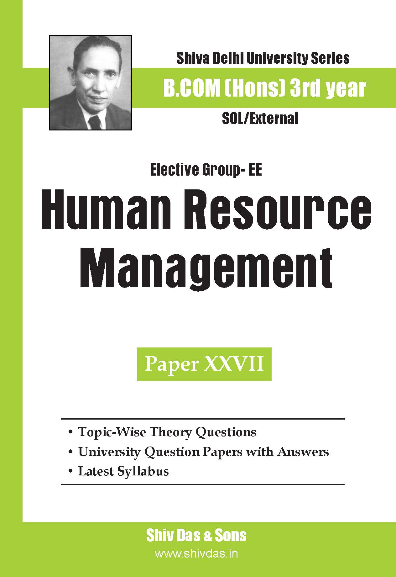 B.Com Hons-SOL/External-3rd Year-Human Resource Management-Shiv Das-Delhi University Series